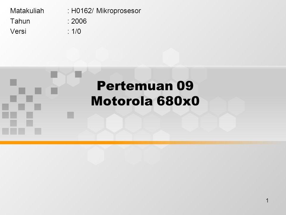 12 Register Set Arsitektur File Register dari M68000 dibagi menjadi dua bagian utama: –User Programming Model –Supervisor Programming Model Arsitektur mikroprosesor M68000 beroperasi pada salah satu dari mode di atas.