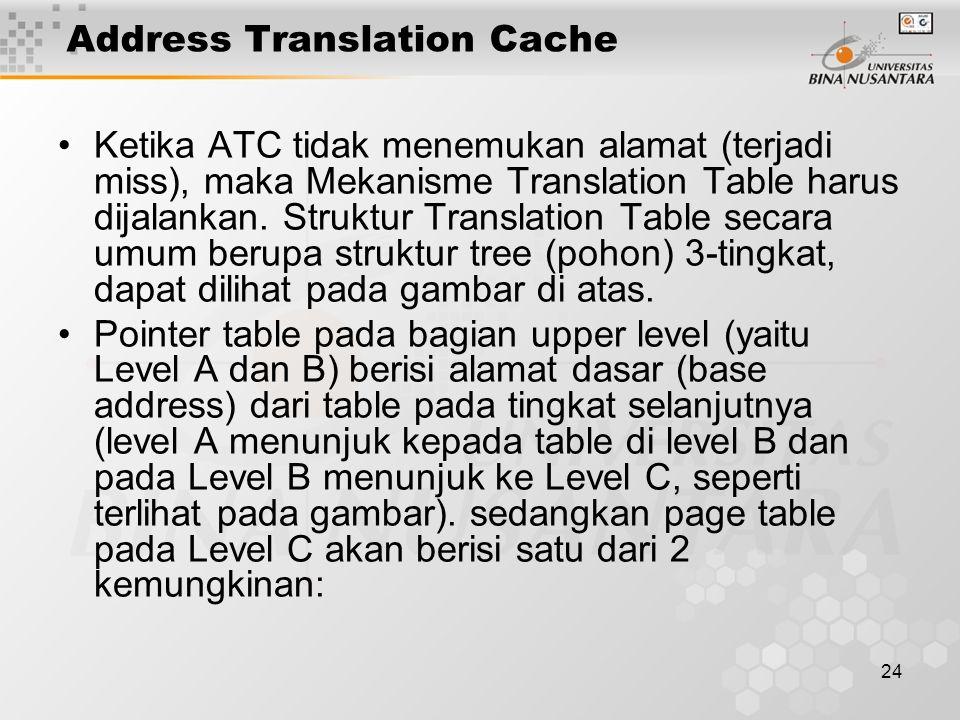 24 Address Translation Cache Ketika ATC tidak menemukan alamat (terjadi miss), maka Mekanisme Translation Table harus dijalankan. Struktur Translation