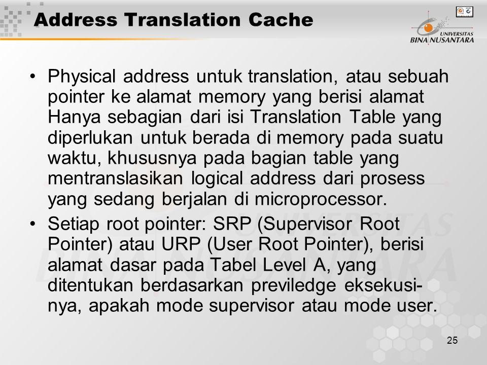 25 Address Translation Cache Physical address untuk translation, atau sebuah pointer ke alamat memory yang berisi alamat Hanya sebagian dari isi Trans