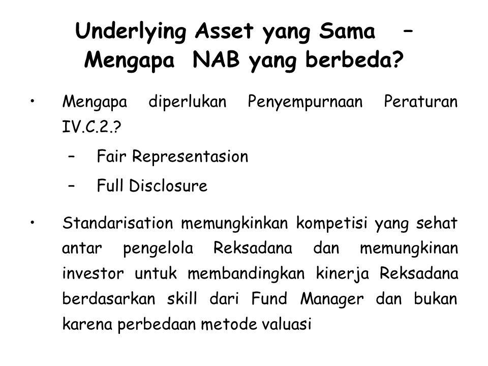 Underlying Asset yang Sama – Mengapa NAB yang berbeda.