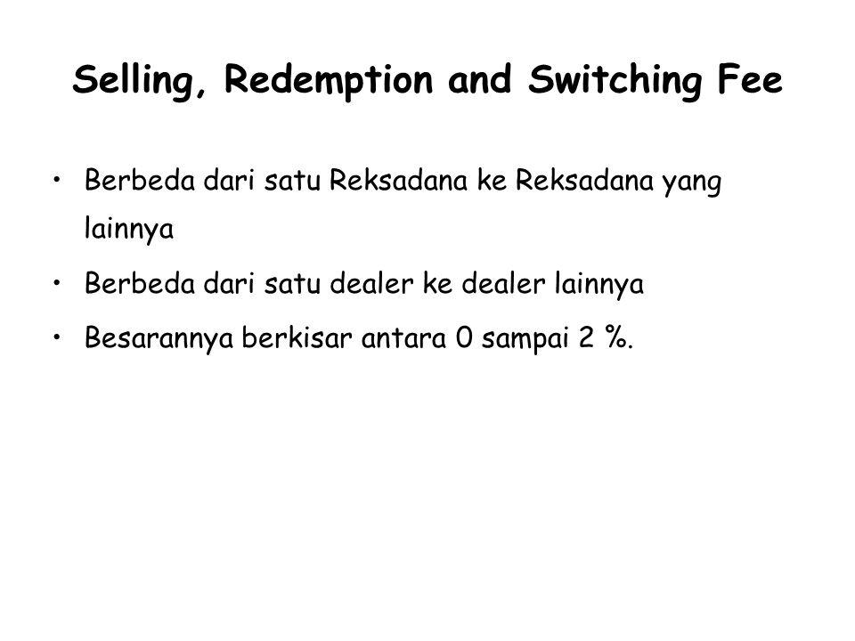 Selling, Redemption and Switching Fee Berbeda dari satu Reksadana ke Reksadana yang lainnya Berbeda dari satu dealer ke dealer lainnya Besarannya berkisar antara 0 sampai 2 %.
