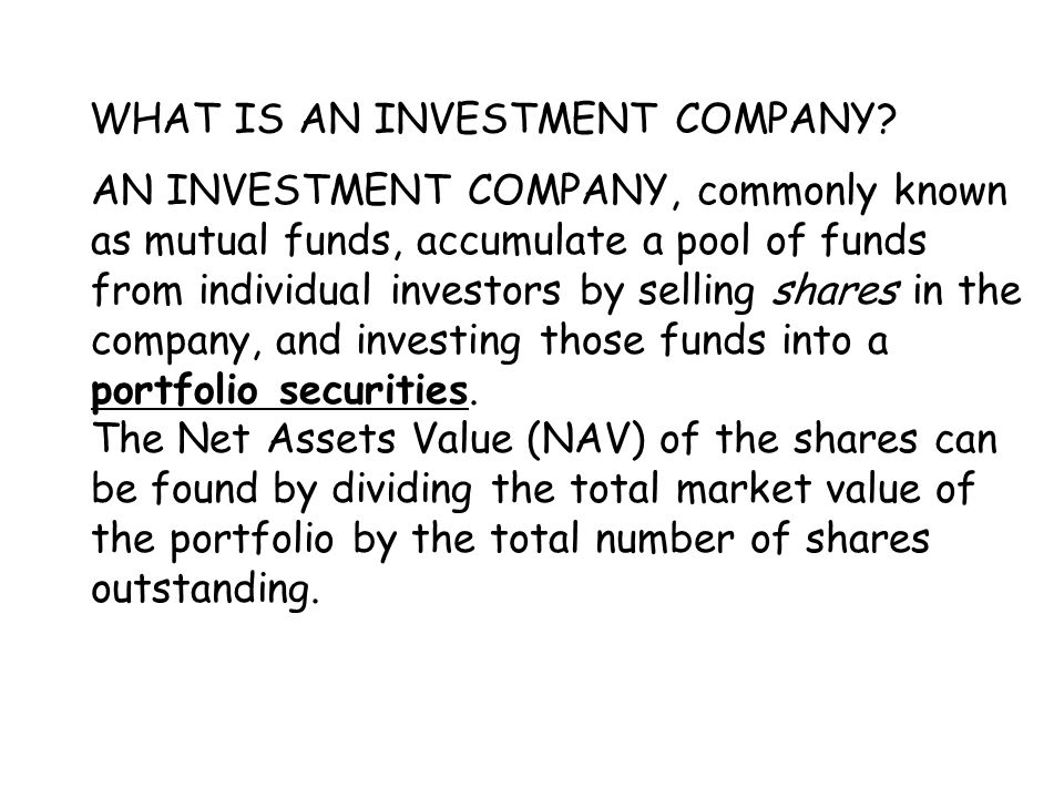WHAT IS AN INVESTMENT COMPANY.