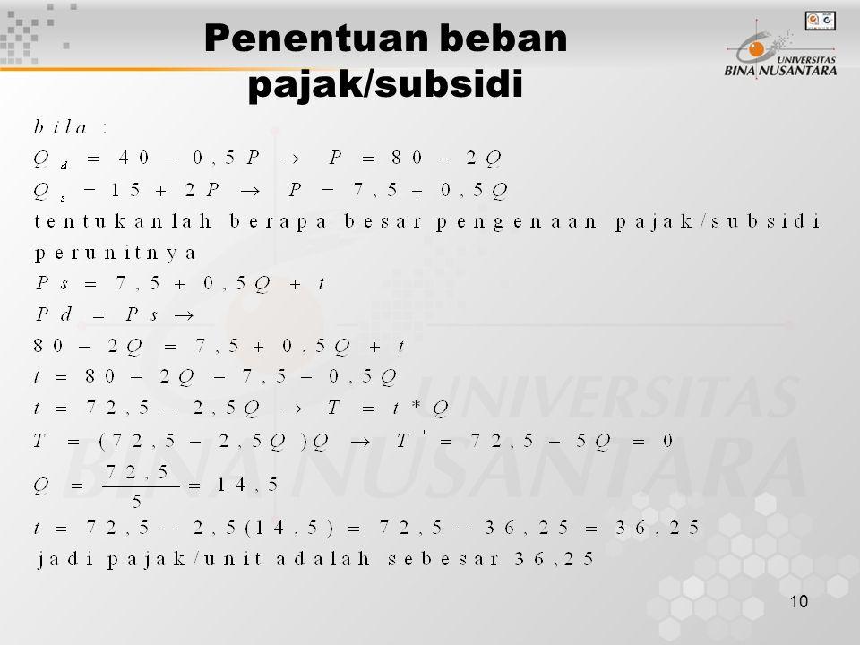 10 Penentuan beban pajak/subsidi
