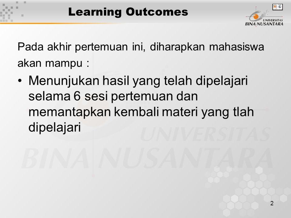 2 Learning Outcomes Pada akhir pertemuan ini, diharapkan mahasiswa akan mampu : Menunjukan hasil yang telah dipelajari selama 6 sesi pertemuan dan memantapkan kembali materi yang tlah dipelajari