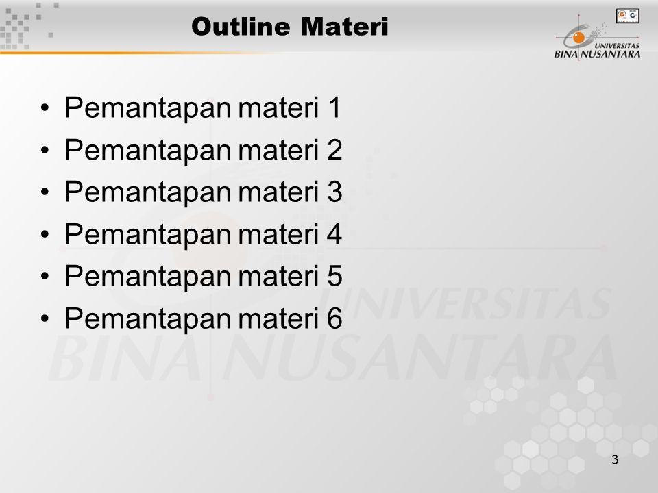 3 Outline Materi Pemantapan materi 1 Pemantapan materi 2 Pemantapan materi 3 Pemantapan materi 4 Pemantapan materi 5 Pemantapan materi 6