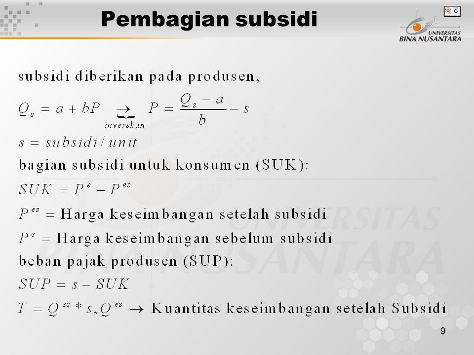 9 Pembagian subsidi