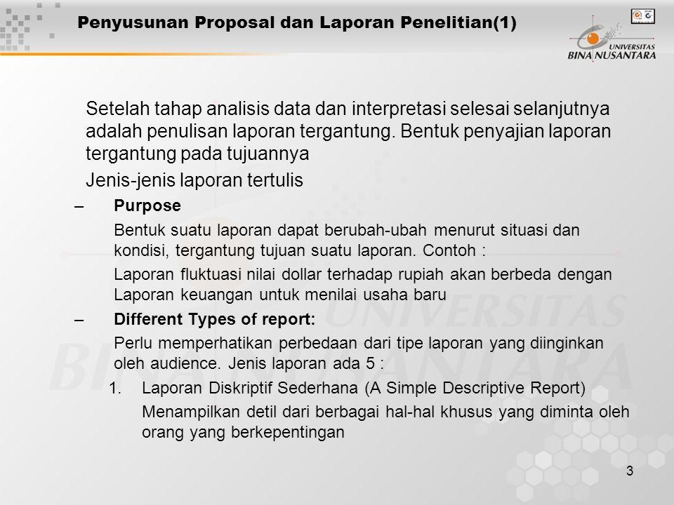 4 Penyusunan Proposal dan Laporan Penelitian(2) –Different Types of report: (Lanjutan) 2.Laporan tertulis yang menjual ide (detail of report to sell an idea) 3.Laporan Komprehensif dimana penawaran solusi alternatif diperlukan 4.Laporan yang mengidentifikasikan suatu masalah dan solusi finalnya 5.Laporan tentang penemuan dalam basis studi c.Audience adalah pihak yang dituju laporan Urutan laporan panjang, detil, fokus, data yang dipresentasikan, ilustrasinya, tergantung kepada siapa laporan itu ditujukan d.Charachteristics of the good report: Ada 8 Karakter yang menjadi satu kesatuan, Yaitu: –Jelas, ringkas dan berhubungan –Penekanan yang tepat pada aspek yang penting –Pengaturan yang berarti dalam setiap paragraph –Transisi yang lancar antar setiap bagian –Pemilihan kata yan tepat dan Spesifikasinya –Laporan harus bebas dari hal yang bersifat teknis –Asumsi yang dibuat harus jelas dan menyajikan fakta dan opini