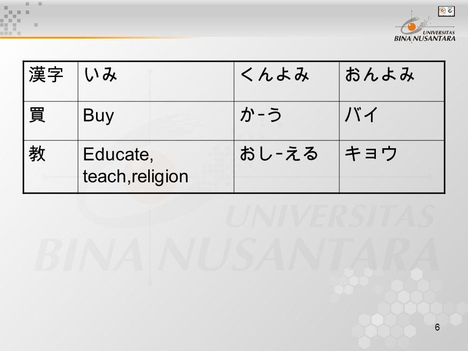 6 漢字いみくんよみおんよみ 買 Buy かーうバイ 教 Educate, teach,religion おしーえるキョウ