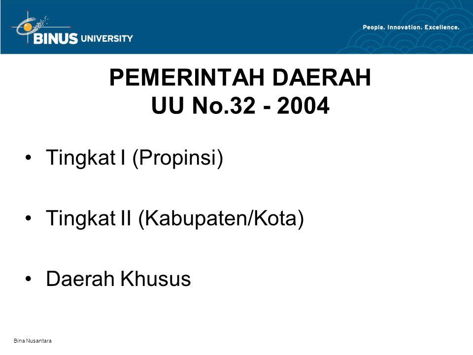 Bina Nusantara PEMERINTAH DAERAH UU No.32 - 2004 Tingkat I (Propinsi) Tingkat II (Kabupaten/Kota) Daerah Khusus