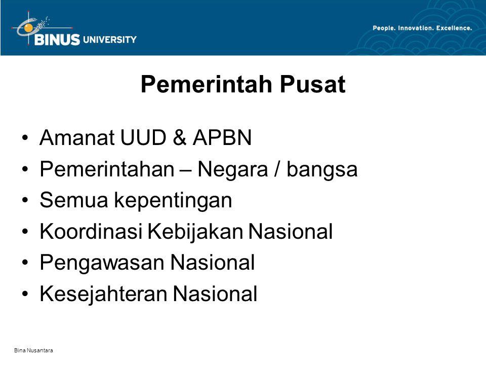 Bina Nusantara Pemerintah Pusat Amanat UUD & APBN Pemerintahan – Negara / bangsa Semua kepentingan Koordinasi Kebijakan Nasional Pengawasan Nasional Kesejahteran Nasional