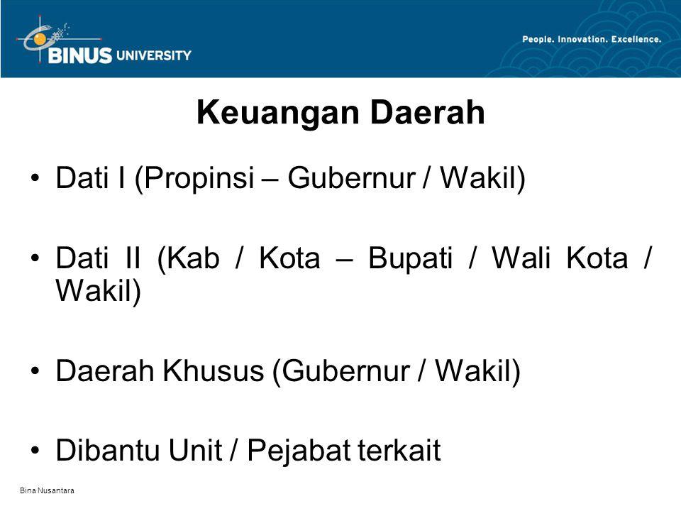 Bina Nusantara Keuangan Daerah Dati I (Propinsi – Gubernur / Wakil) Dati II (Kab / Kota – Bupati / Wali Kota / Wakil) Daerah Khusus (Gubernur / Wakil) Dibantu Unit / Pejabat terkait