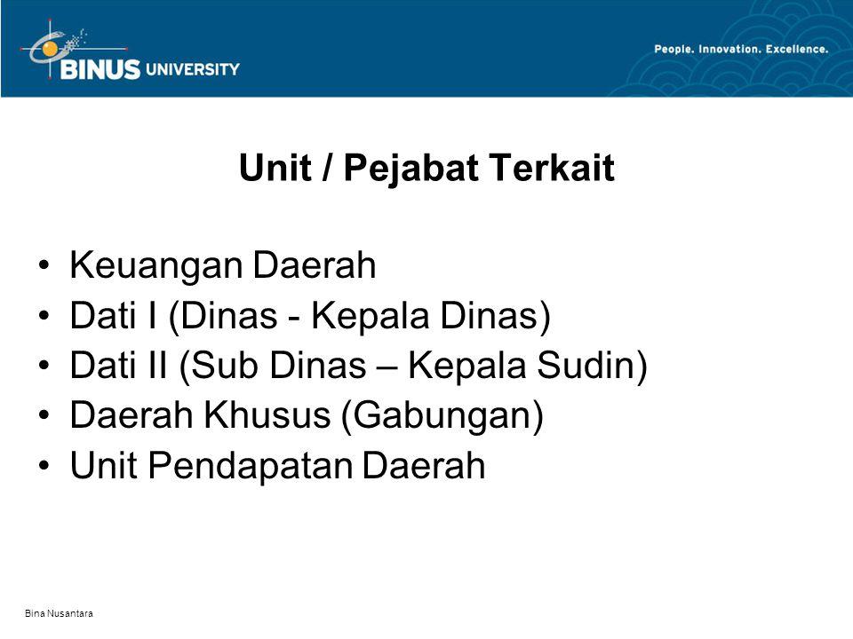 Bina Nusantara Unit / Pejabat Terkait Keuangan Daerah Dati I (Dinas - Kepala Dinas) Dati II (Sub Dinas – Kepala Sudin) Daerah Khusus (Gabungan) Unit Pendapatan Daerah