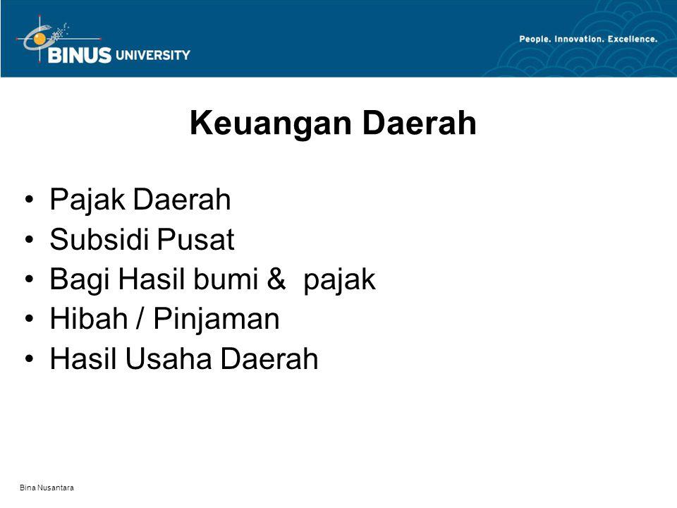 Bina Nusantara Keuangan Daerah Pajak Daerah Subsidi Pusat Bagi Hasil bumi & pajak Hibah / Pinjaman Hasil Usaha Daerah