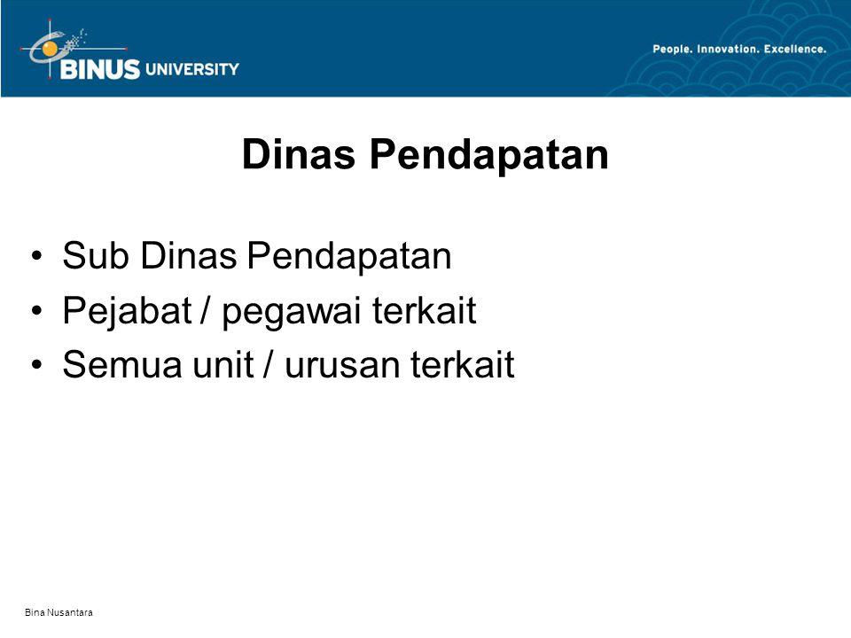 Bina Nusantara Dinas Pendapatan Sub Dinas Pendapatan Pejabat / pegawai terkait Semua unit / urusan terkait
