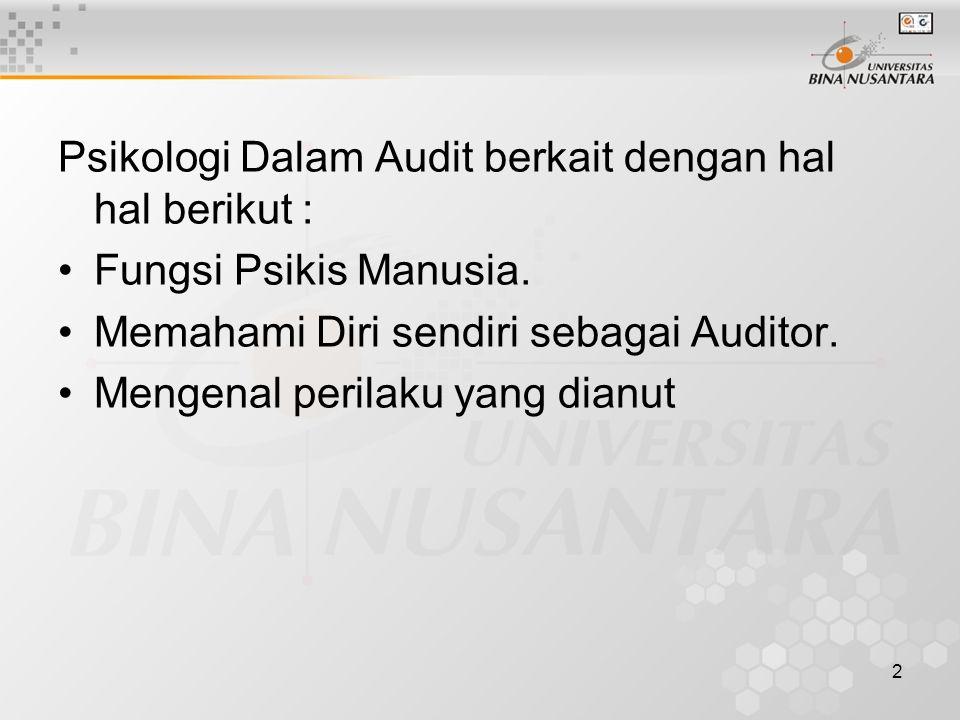 2 Psikologi Dalam Audit berkait dengan hal hal berikut : Fungsi Psikis Manusia. Memahami Diri sendiri sebagai Auditor. Mengenal perilaku yang dianut