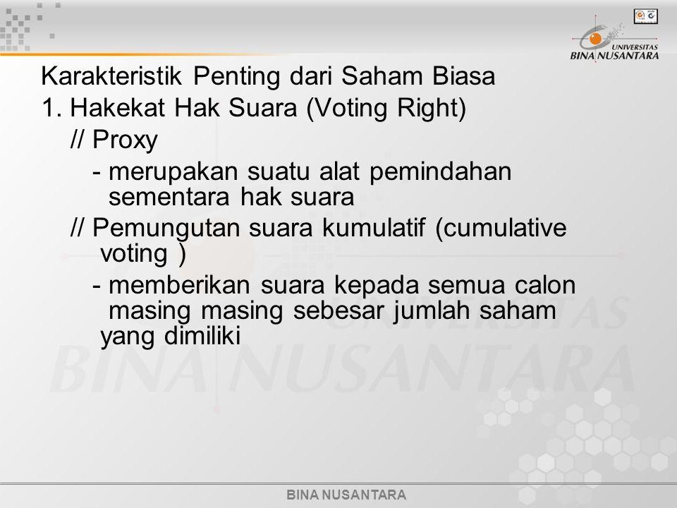 BINA NUSANTARA Karakteristik Penting dari Saham Biasa 1. Hakekat Hak Suara (Voting Right) // Proxy - merupakan suatu alat pemindahan sementara hak sua