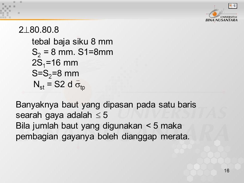 16 2  80.80.8 tebal baja siku 8 mm S 2 = 8 mm.