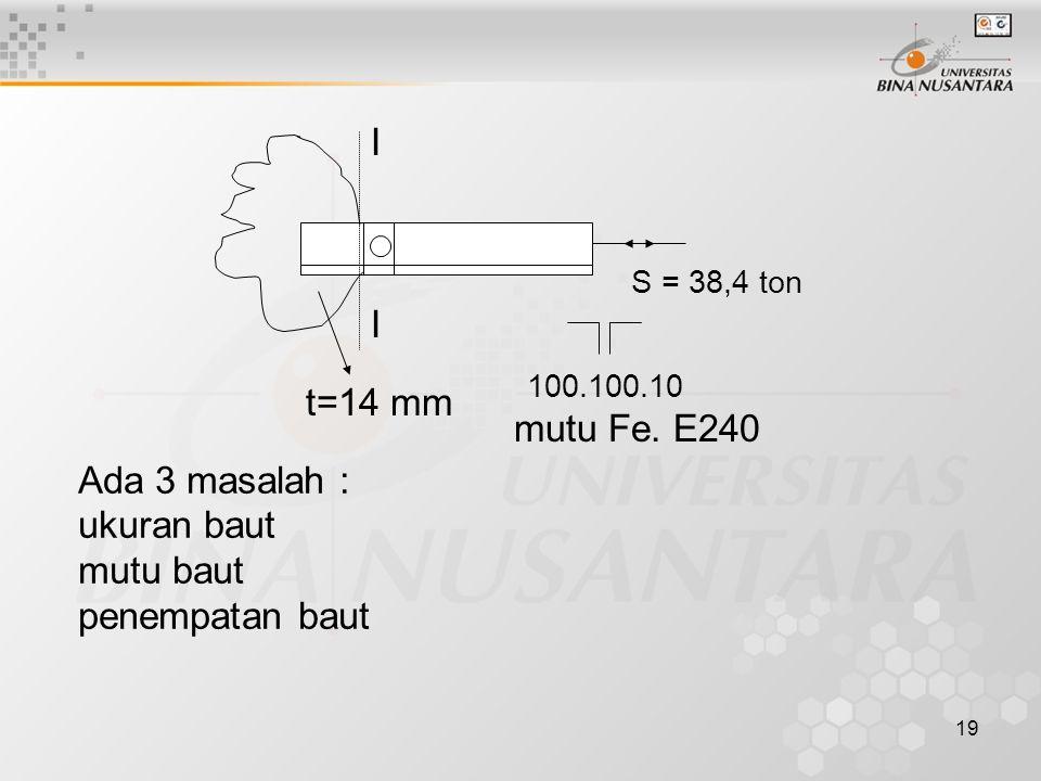 19 I I S = 38,4 ton 100.100.10 t=14 mm mutu Fe.