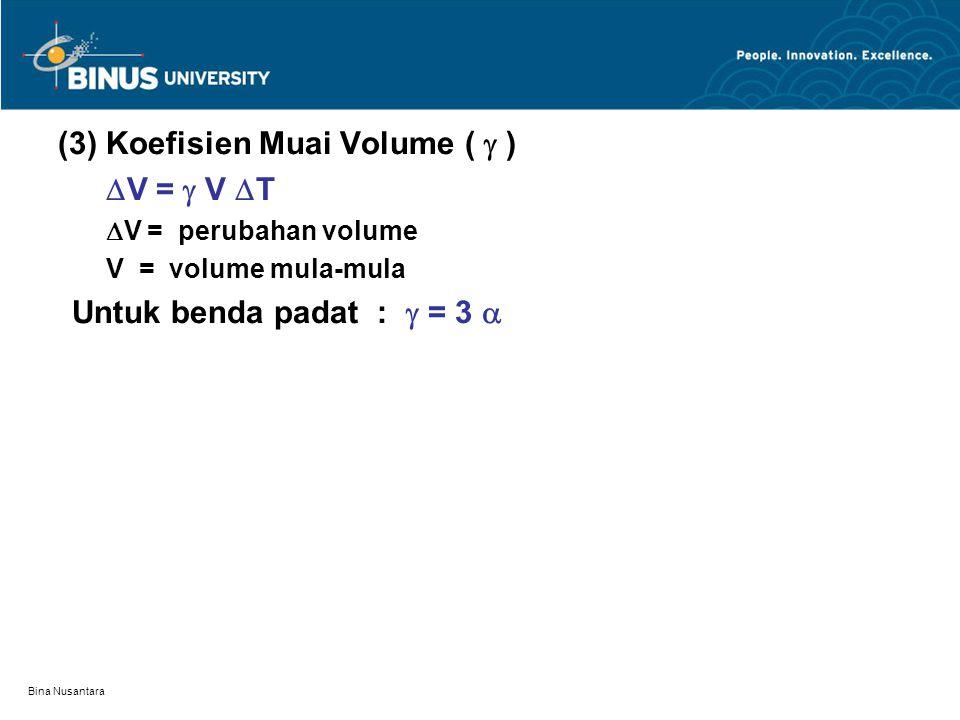 Bina Nusantara (3) Koefisien Muai Volume (  )  V =  V  T  V = perubahan volume V = volume mula-mula Untuk benda padat :  = 3 