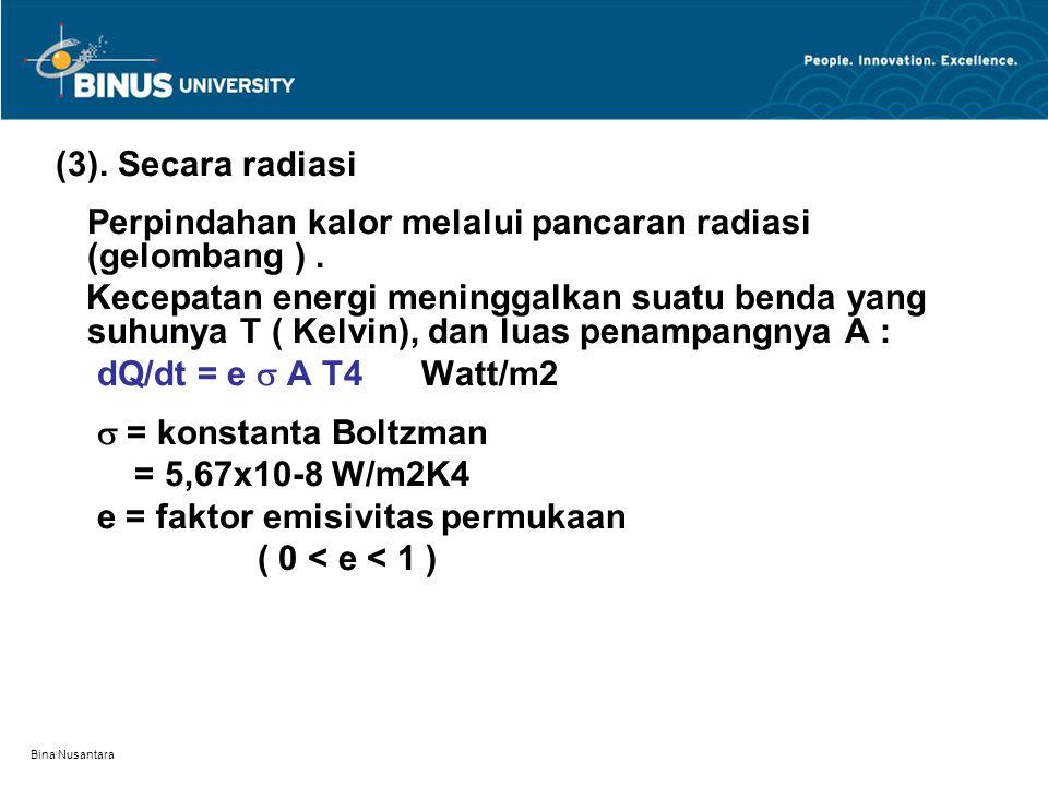 Bina Nusantara (3). Secara radiasi Perpindahan kalor melalui pancaran radiasi (gelombang ).