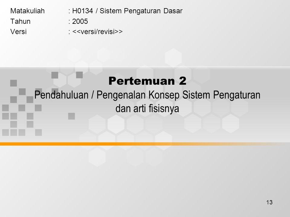 13 Pertemuan 2 Pendahuluan / Pengenalan Konsep Sistem Pengaturan dan arti fisisnya Matakuliah: H0134 / Sistem Pengaturan Dasar Tahun: 2005 Versi: >