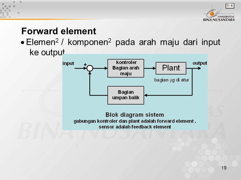 19 Forward element  Elemen 2 / komponen 2 pada arah maju dari input ke output