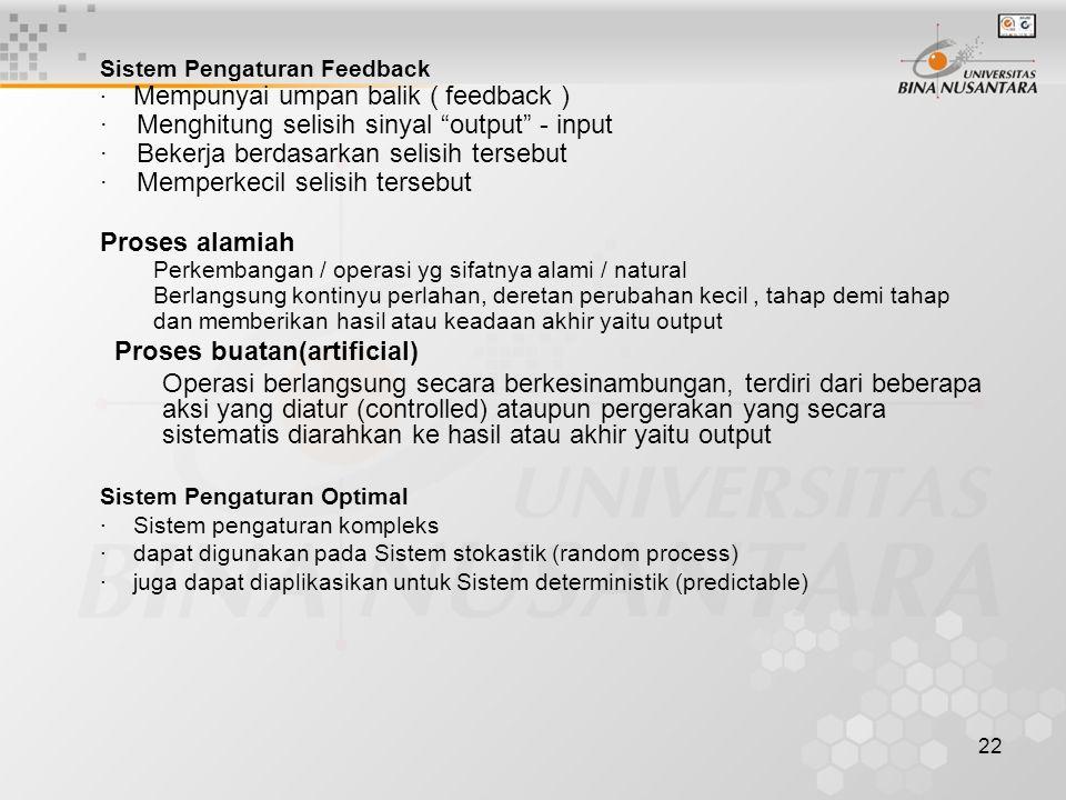 "22 Sistem Pengaturan Feedback · Mempunyai umpan balik ( feedback ) · Menghitung selisih sinyal ""output"" - input · Bekerja berdasarkan selisih tersebut"
