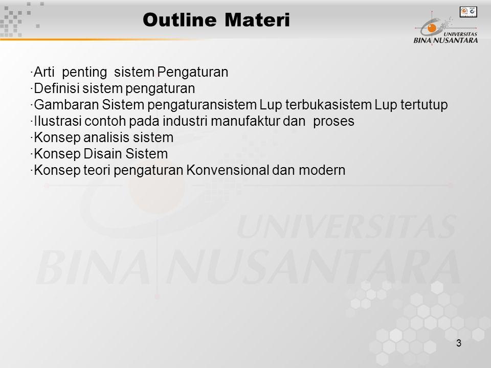 3 Outline Materi ·Arti penting sistem Pengaturan ·Definisi sistem pengaturan ·Gambaran Sistem pengaturansistem Lup terbukasistem Lup tertutup ·Ilustra