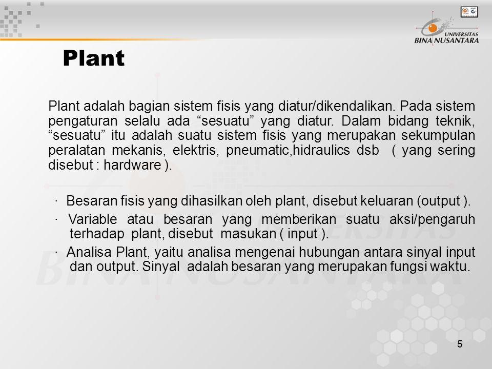 "5 Plant Plant adalah bagian sistem fisis yang diatur/dikendalikan. Pada sistem pengaturan selalu ada ""sesuatu"" yang diatur. Dalam bidang teknik, ""sesu"