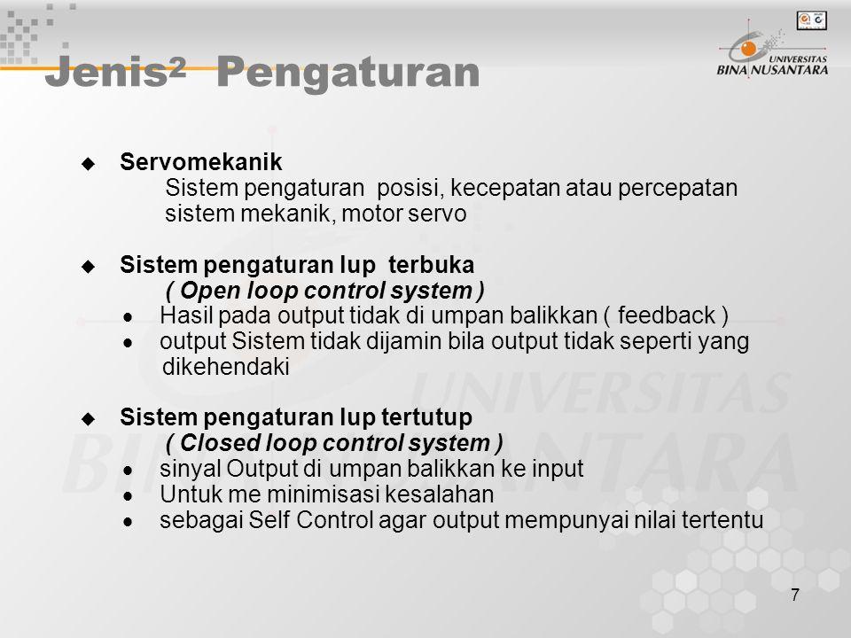 7 Jenis 2 Pengaturan  Servomekanik Sistem pengaturan posisi, kecepatan atau percepatan sistem mekanik, motor servo  Sistem pengaturan lup terbuka (