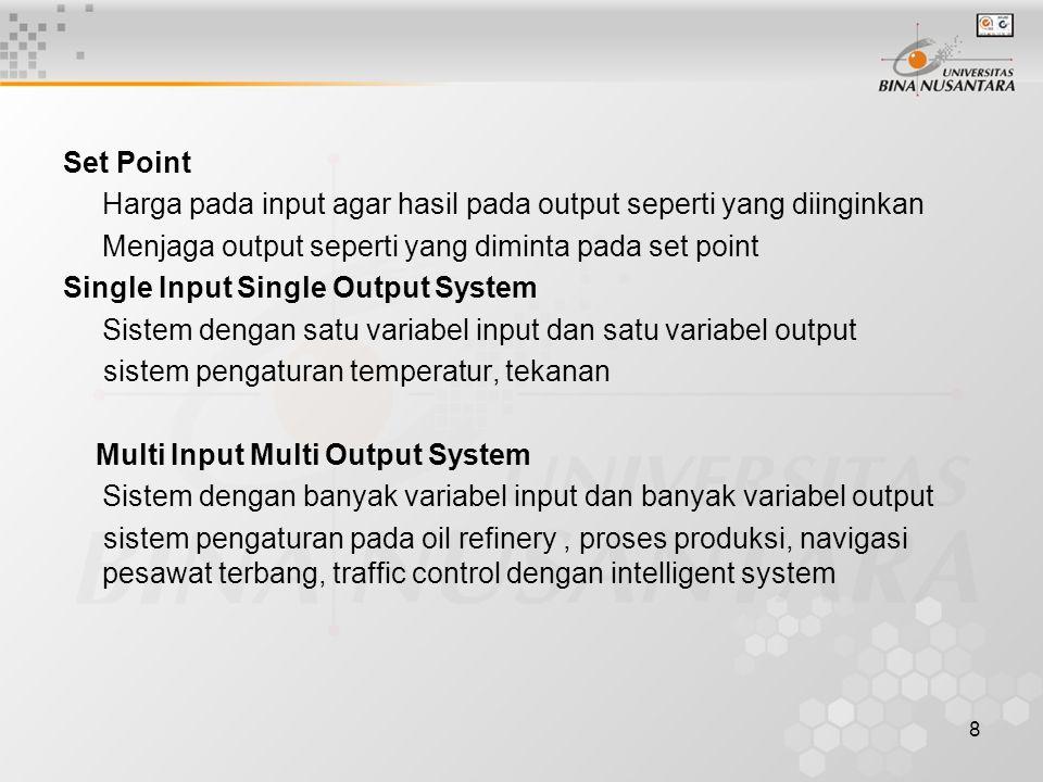 8 Set Point Harga pada input agar hasil pada output seperti yang diinginkan Menjaga output seperti yang diminta pada set point Single Input Single Out