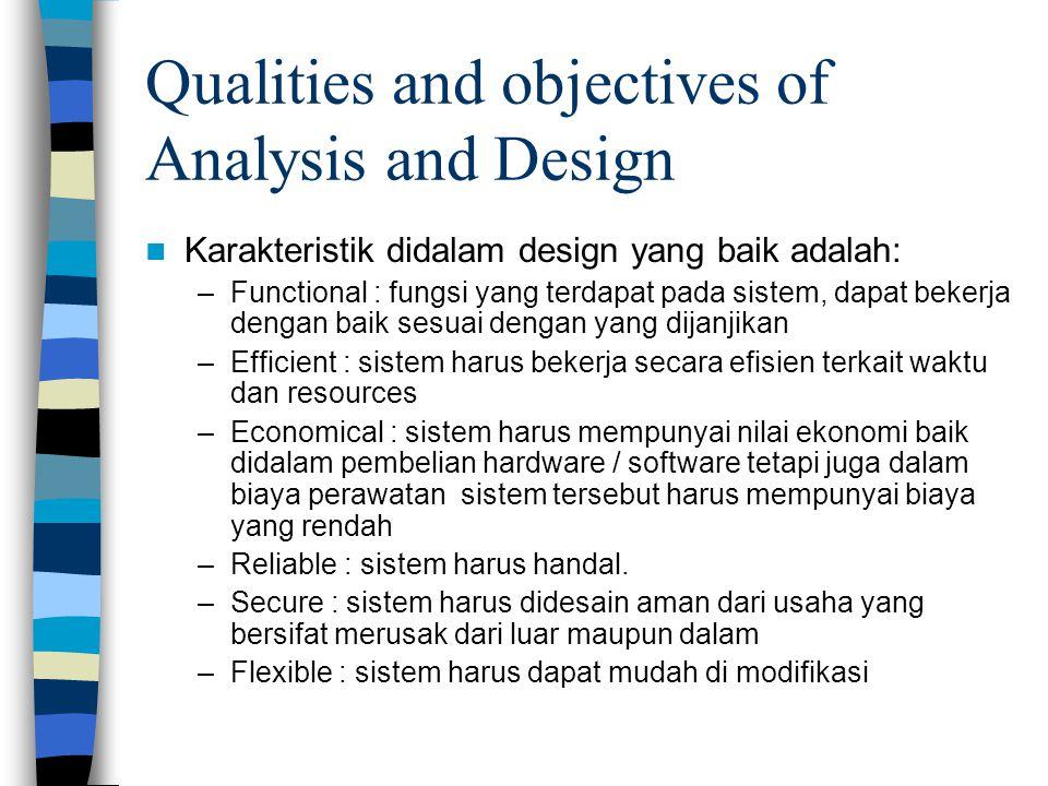 Qualities and objectives of Analysis and Design Karakteristik didalam design yang baik adalah: –Functional : fungsi yang terdapat pada sistem, dapat b
