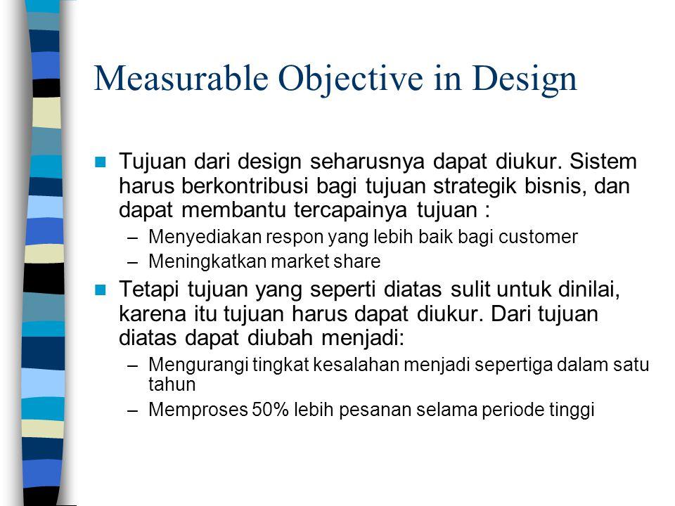 Measurable Objective in Design Tujuan dari design seharusnya dapat diukur.
