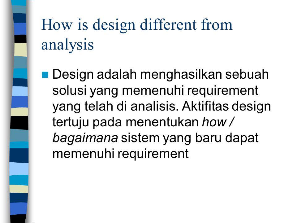 How is design different from analysis Design adalah menghasilkan sebuah solusi yang memenuhi requirement yang telah di analisis.