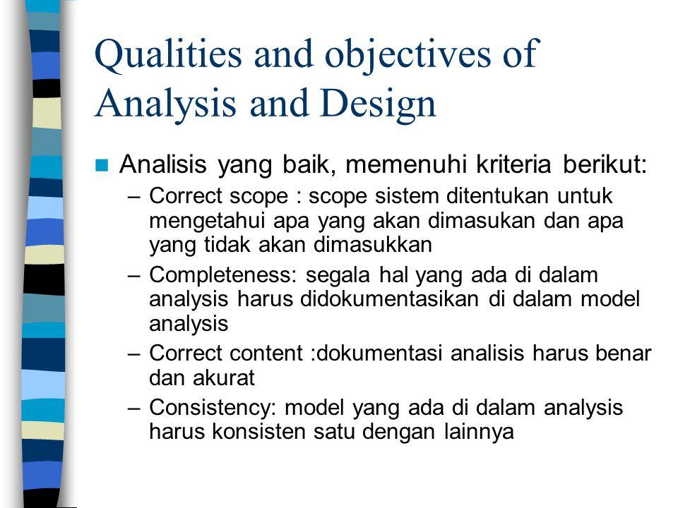 Qualities and objectives of Analysis and Design Analisis yang baik, memenuhi kriteria berikut: –Correct scope : scope sistem ditentukan untuk mengetahui apa yang akan dimasukan dan apa yang tidak akan dimasukkan –Completeness: segala hal yang ada di dalam analysis harus didokumentasikan di dalam model analysis –Correct content :dokumentasi analisis harus benar dan akurat –Consistency: model yang ada di dalam analysis harus konsisten satu dengan lainnya