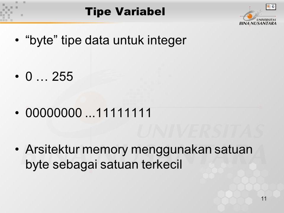 """11 Tipe Variabel """"byte"""" tipe data untuk integer 0 … 255 00000000...11111111 Arsitektur memory menggunakan satuan byte sebagai satuan terkecil"""