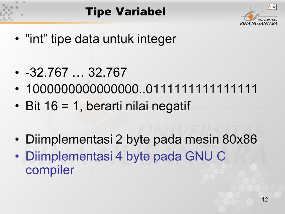 """12 Tipe Variabel """"int"""" tipe data untuk integer -32.767 … 32.767 1000000000000000..0111111111111111 Bit 16 = 1, berarti nilai negatif Diimplementasi 2"""