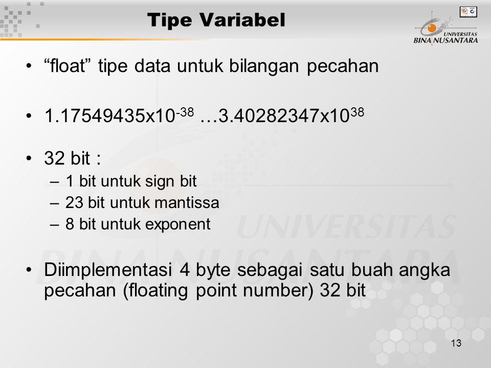 """13 Tipe Variabel """"float"""" tipe data untuk bilangan pecahan 1.17549435x10 -38 …3.40282347x10 38 32 bit : –1 bit untuk sign bit –23 bit untuk mantissa –8"""