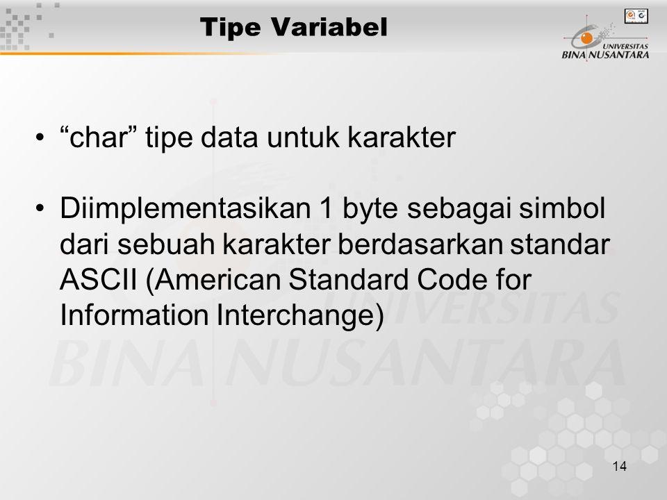 """14 Tipe Variabel """"char"""" tipe data untuk karakter Diimplementasikan 1 byte sebagai simbol dari sebuah karakter berdasarkan standar ASCII (American Stan"""