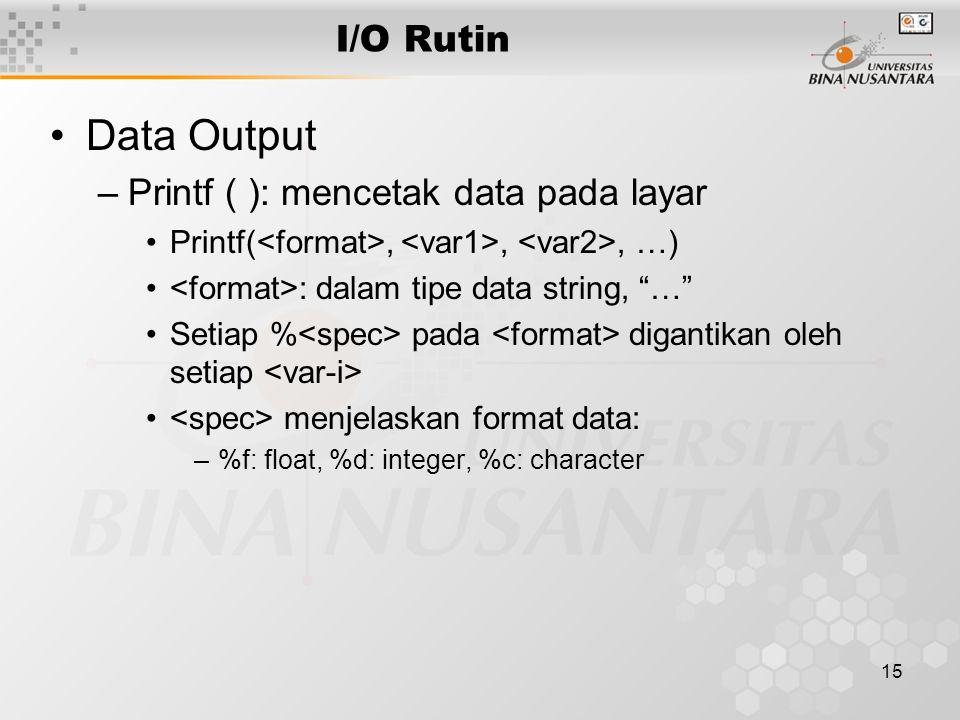 "15 I/O Rutin Data Output –Printf ( ): mencetak data pada layar Printf(,,, …) : dalam tipe data string, ""…"" Setiap % pada digantikan oleh setiap menjel"