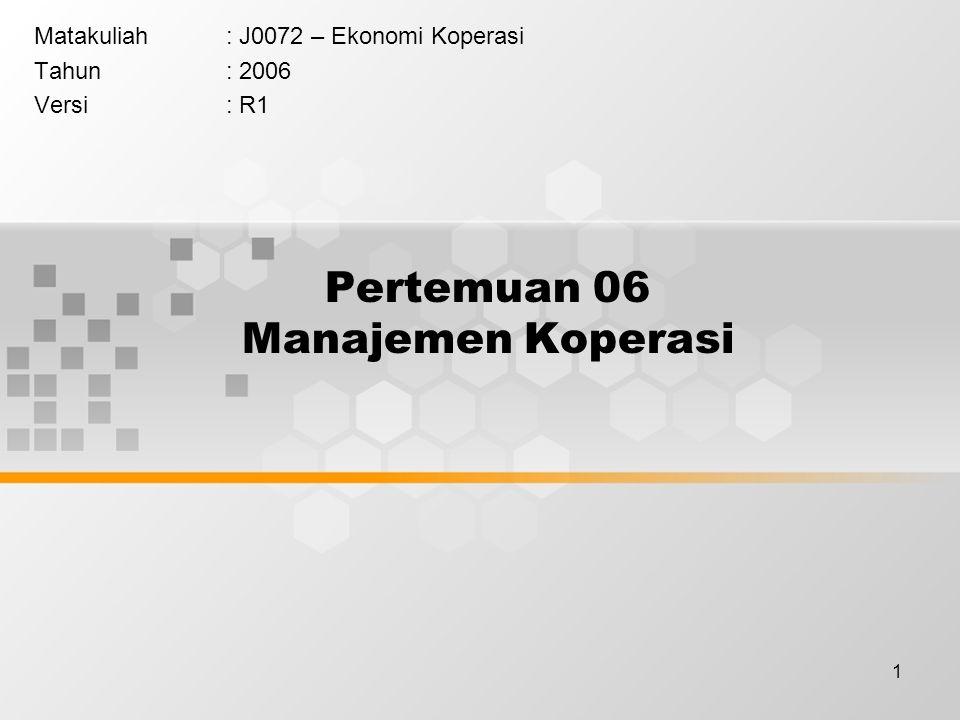 1 Pertemuan 06 Manajemen Koperasi Matakuliah: J0072 – Ekonomi Koperasi Tahun: 2006 Versi: R1