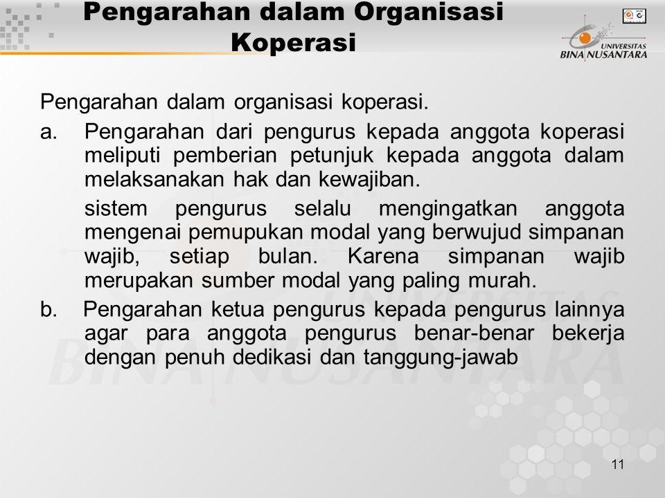 11 Pengarahan dalam Organisasi Koperasi Pengarahan dalam organisasi koperasi. a.Pengarahan dari pengurus kepada anggota koperasi meliputi pemberian pe