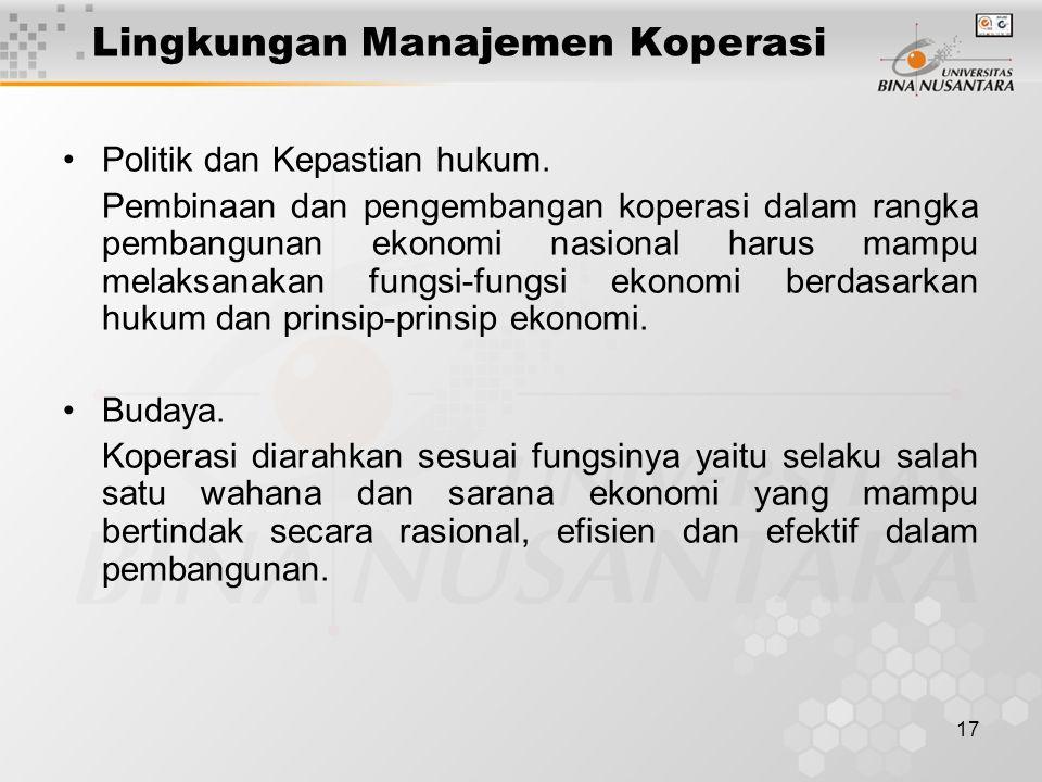 17 Lingkungan Manajemen Koperasi Politik dan Kepastian hukum. Pembinaan dan pengembangan koperasi dalam rangka pembangunan ekonomi nasional harus mamp
