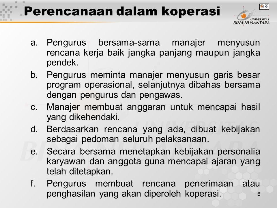 6 Perencanaan dalam koperasi a.Pengurus bersama-sama manajer menyusun rencana kerja baik jangka panjang maupun jangka pendek. b.Pengurus meminta manaj