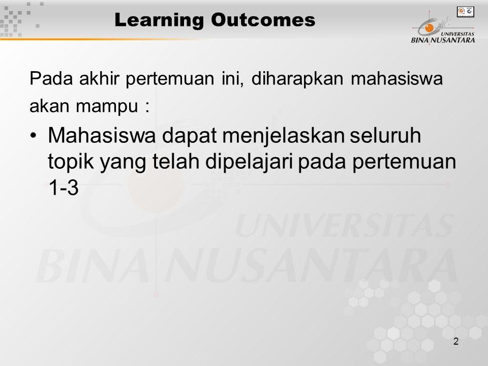 2 Learning Outcomes Pada akhir pertemuan ini, diharapkan mahasiswa akan mampu : Mahasiswa dapat menjelaskan seluruh topik yang telah dipelajari pada pertemuan 1-3