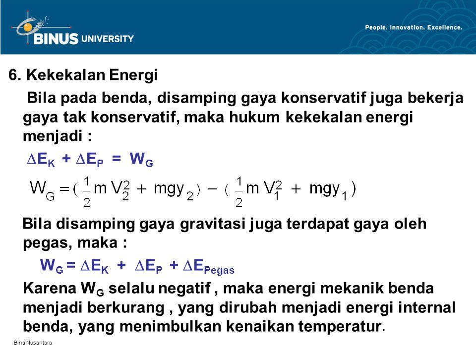 Bina Nusantara 6. Kekekalan Energi Bila pada benda, disamping gaya konservatif juga bekerja gaya tak konservatif, maka hukum kekekalan energi menjadi