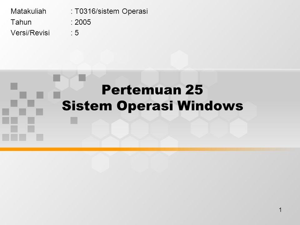 1 Pertemuan 25 Sistem Operasi Windows Matakuliah: T0316/sistem Operasi Tahun: 2005 Versi/Revisi: 5