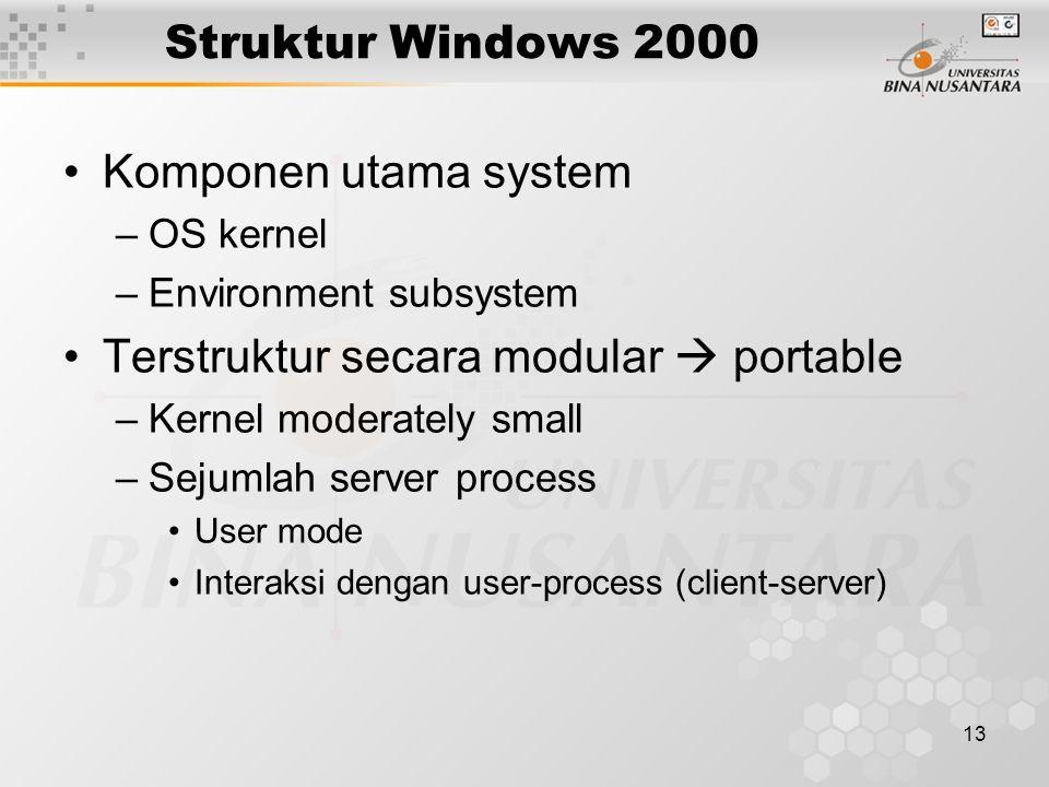 13 Struktur Windows 2000 Komponen utama system –OS kernel –Environment subsystem Terstruktur secara modular  portable –Kernel moderately small –Sejumlah server process User mode Interaksi dengan user-process (client-server)