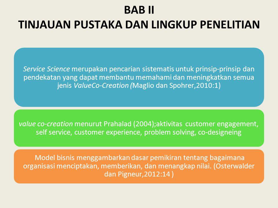 BAB II TINJAUAN PUSTAKA DAN LINGKUP PENELITIAN Service Science merupakan pencarian sistematis untuk prinsip-prinsip dan pendekatan yang dapat membantu