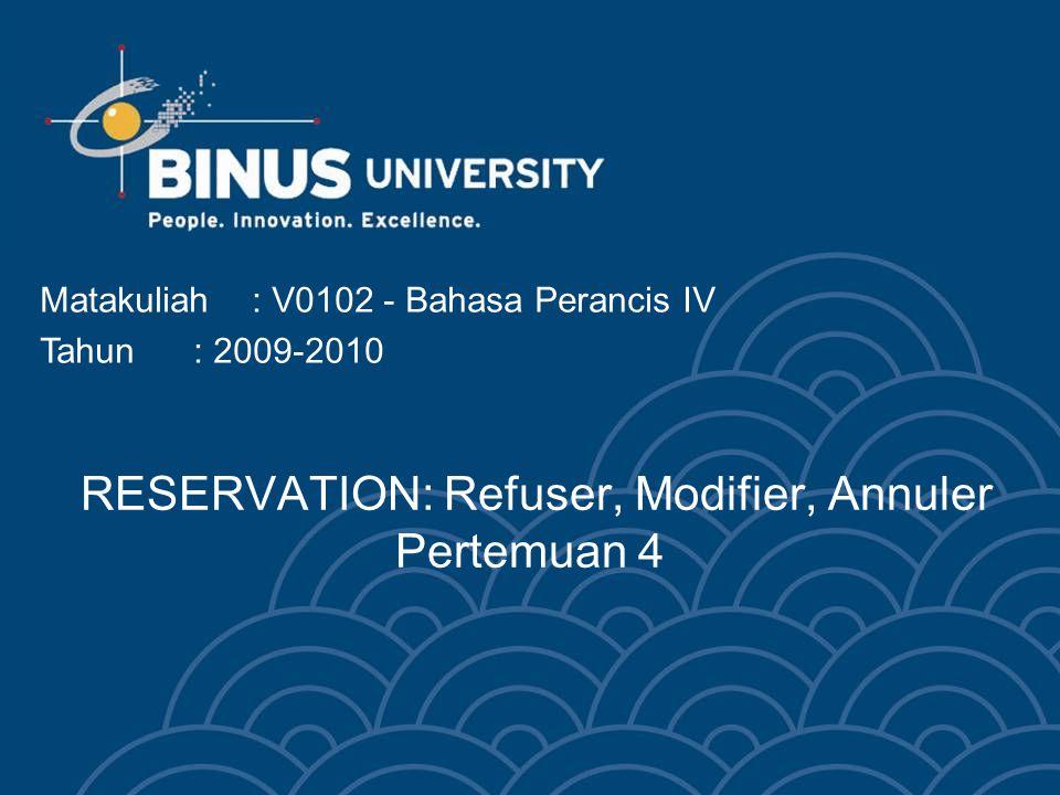 Bina Nusantara University 3 SOAL-SOAL RESERVATION: Refuser, Modifier, Annuler 1.Apa yang anda katakan untuk menolak pemesanan.